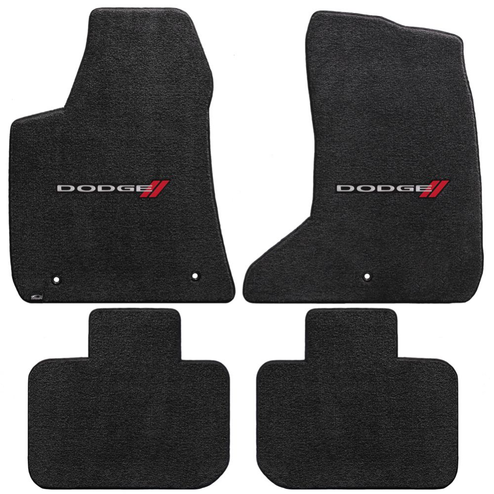 Lloyd ® - Ultimat™ Ebony Custom 4PC Floor Mats With Dodge Logo (600034)
