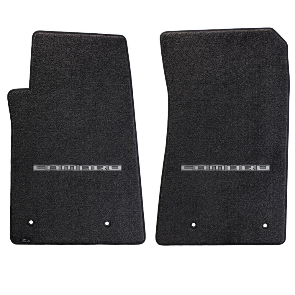 Lloyd ® - Ultimat™ Ebony Custom Front Floor Mats With Silver on Graphite Camaro Logo (600001)