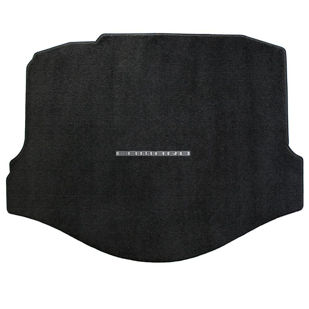 Lloyd ® - Ultimat™ Ebony Custom Trunk Mat With Silver on Graphite Camaro Logo (600007)