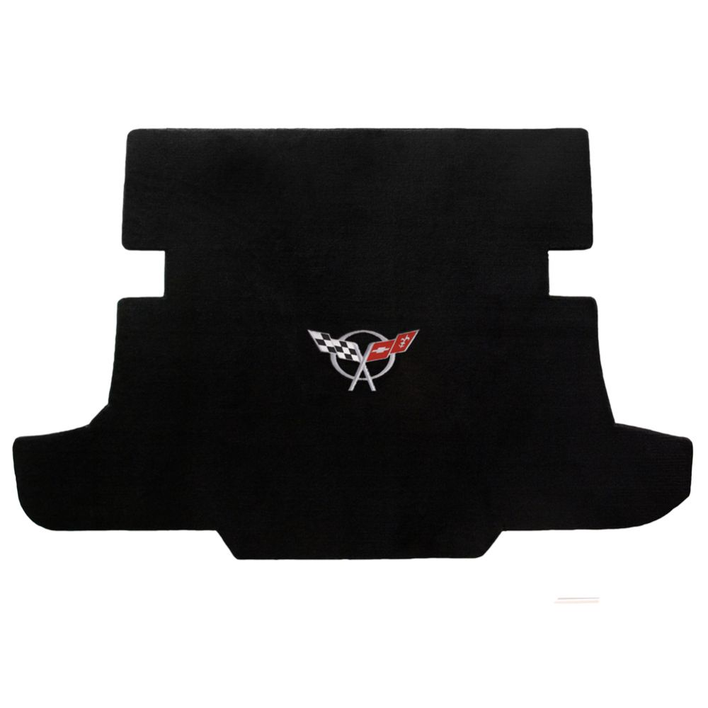 Lloyd ® - Velourtex™ Black Custom Cargo Mat With Silver C5 Flags Logo (620017)
