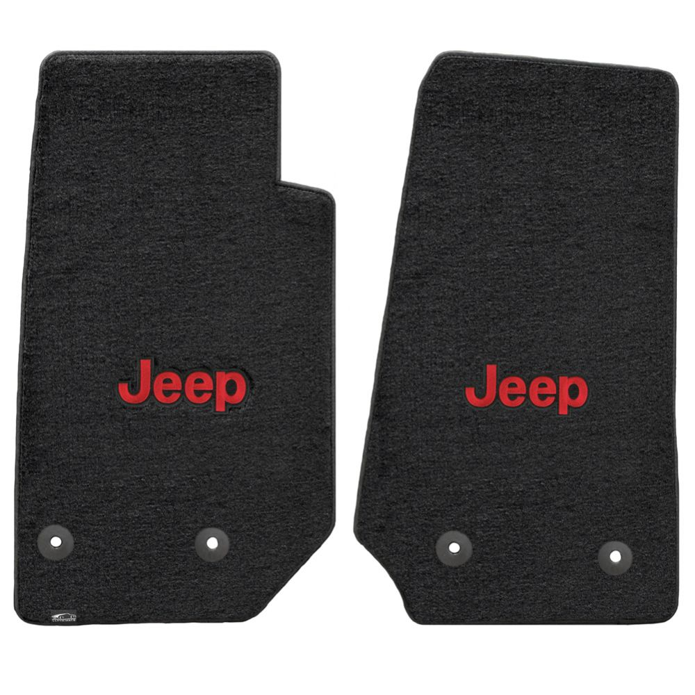 Lloyd ® - Velourtex™ Black Custom Front Floor Mats With Red Jeep Logo (620065)