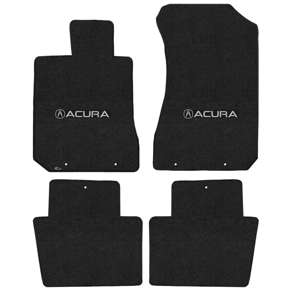 Lloyd ® - Velourtex™ Ebony Custom 4PC Floor Mats With Silver Acura & A Logo (620178)