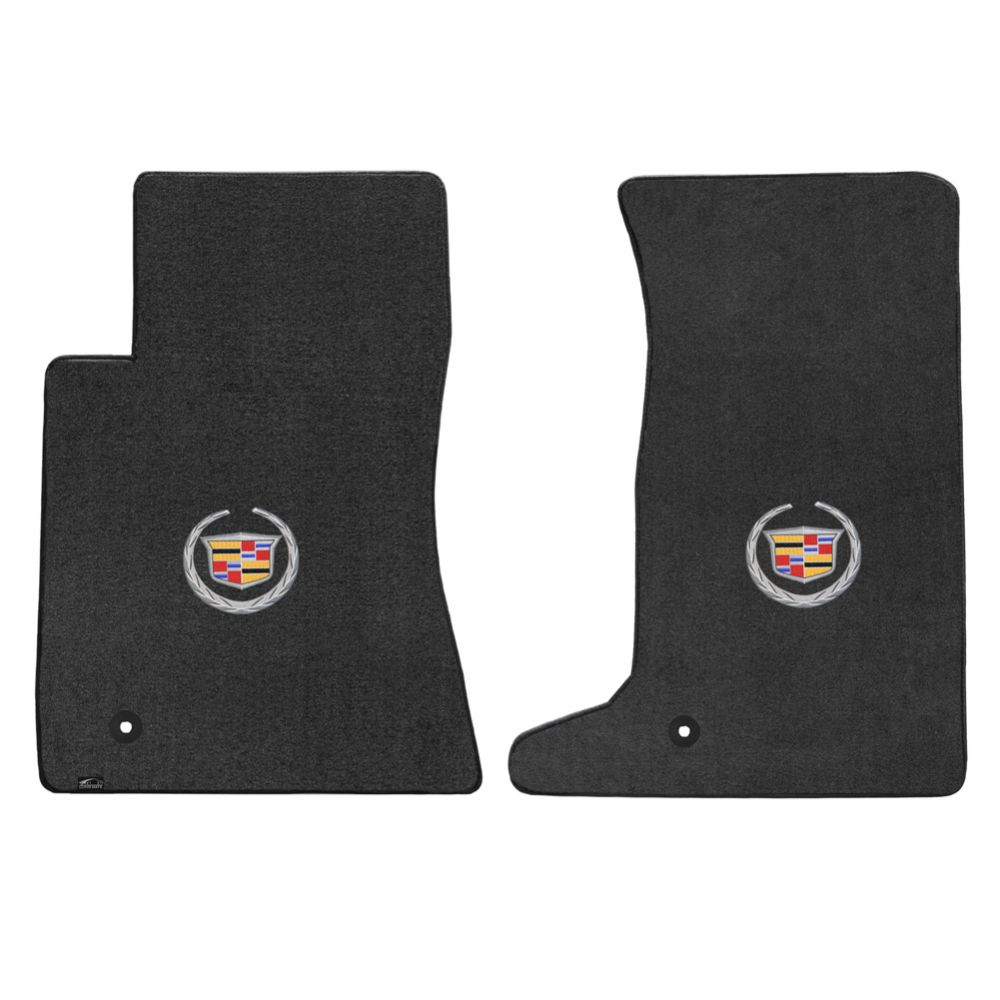 Lloyd ® - Velourtex™ Ebony Custom Front Floor Mats With Silver Cadillac Logo (620080)
