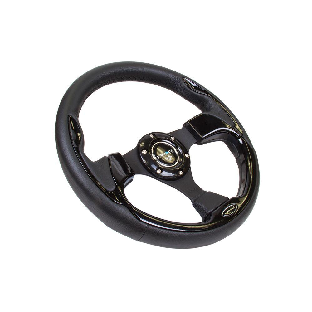 NRG ® - 320mm Sport Black Leather Steering Wheel with Black Trim (RST-001BK)