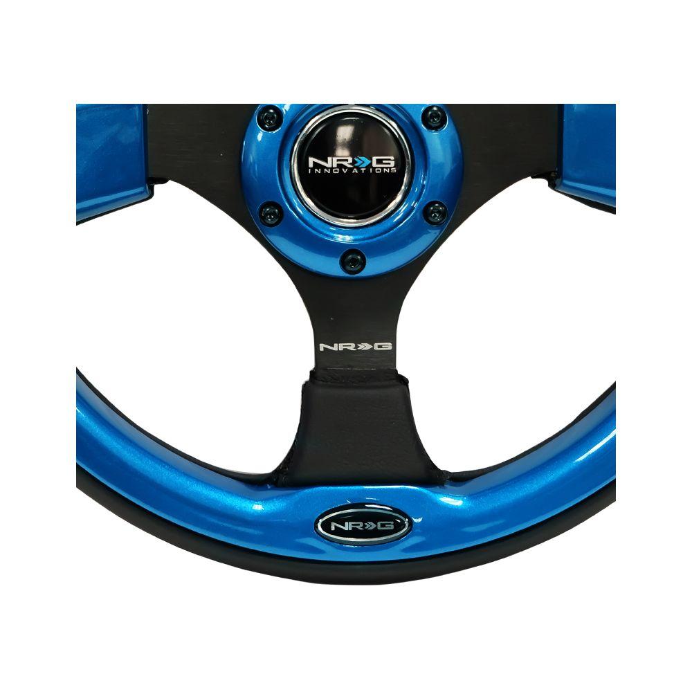 NRG ® - 320mm Sport Black Leather Steering Wheel with Blue Trim (RST-001BL)