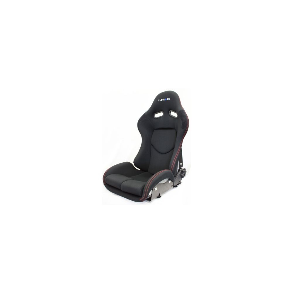 NRG ® - Black Cloth Reclinable FRP Bucket Racing Seat with Metalic Silver Backing and Red Stitching (RSC-400SL)