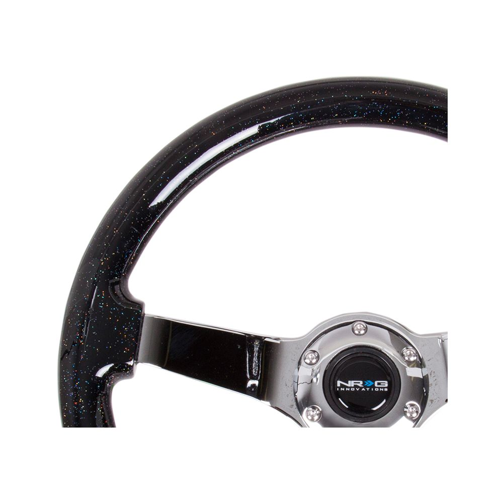 NRG ® - Black Sparkled Wood Grain Steering Wheel 3 Inch Deep with 3 Chrome Spoke Center (ST-036BSB-CH)