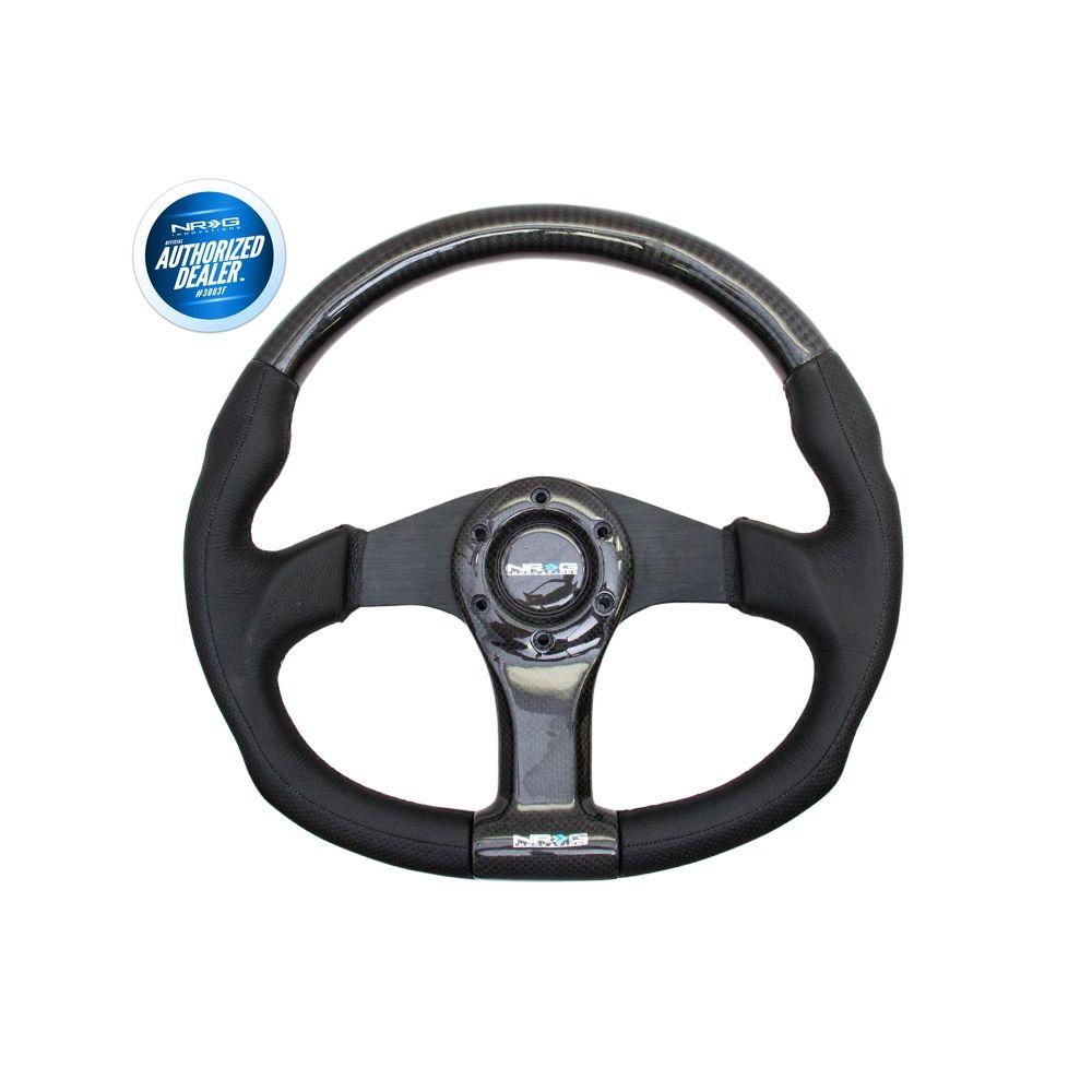 NRG ® - Carbon Fiber Steering Wheel Oval Shape 350mm with Black Spokes (ST-013CFBK)