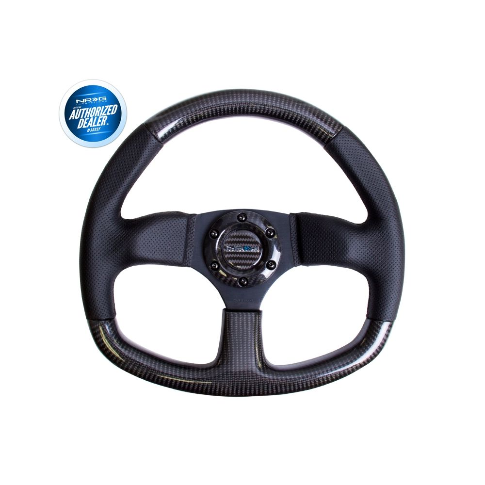 NRG ® - Carbon Fiber Steering Wheel with Flat Bottom and Black Stitching (ST-009CFBS)