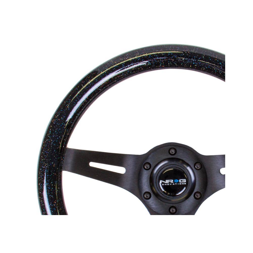 NRG ® - Classic Black Sparkled Wood Grain Steering Wheel with 3 Black Spokes (ST-310BSB-BK)