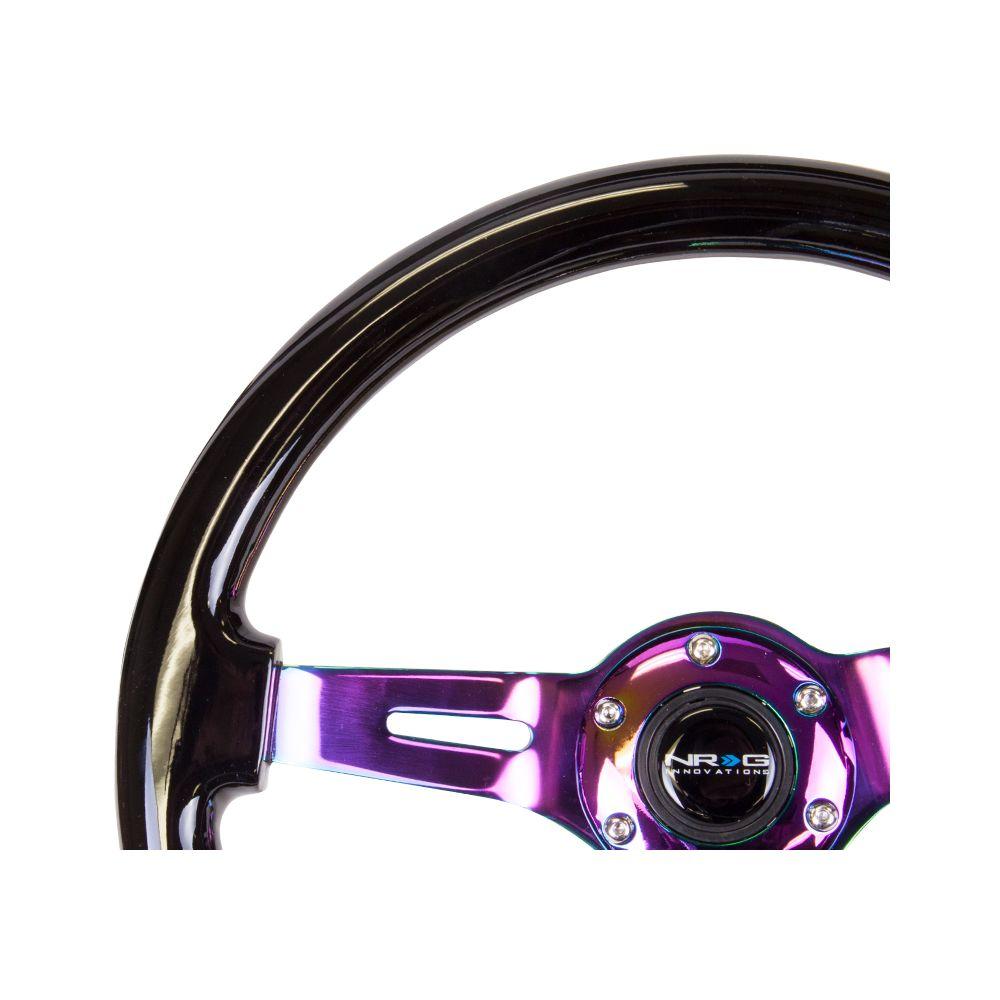 NRG ® - Classic Black Wood Grain Steering Wheel 3 Inch Deep with 3 NeoChrome Spoke Center (ST-055BK-MC)