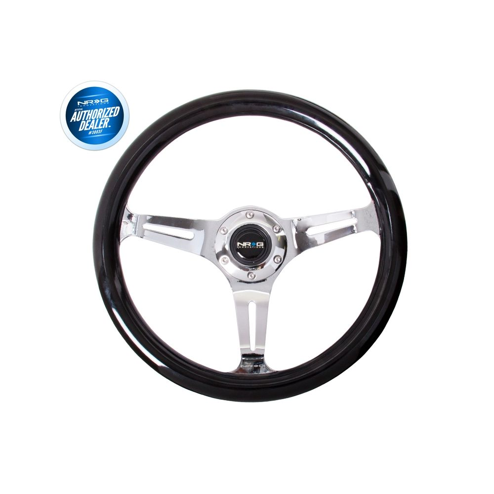 NRG ® - Classic Black Wood Grain Steering Wheel with 3 Brushed Aluminum Spokes (ST-015CH-BK)