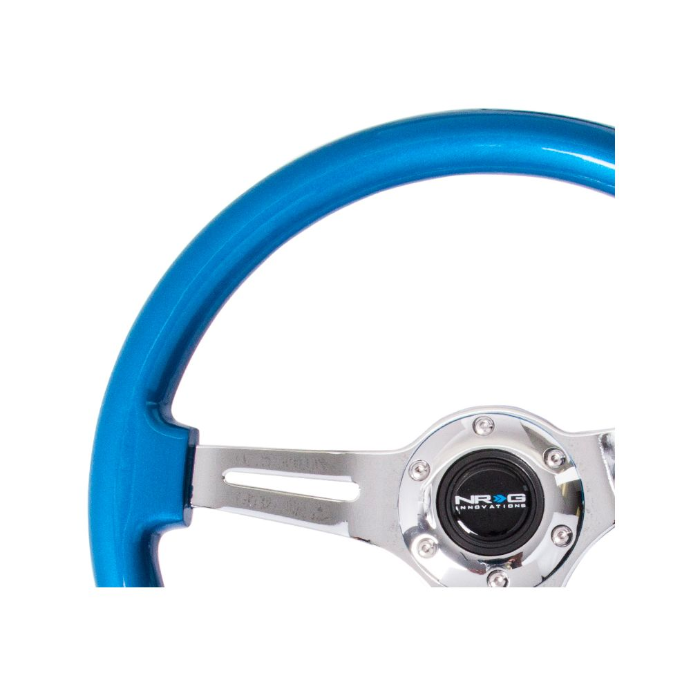 NRG ® - Classic Blue Pearl Wood Grain Steering Wheel with 3 Chrome Spokes (ST-015CH-BL)