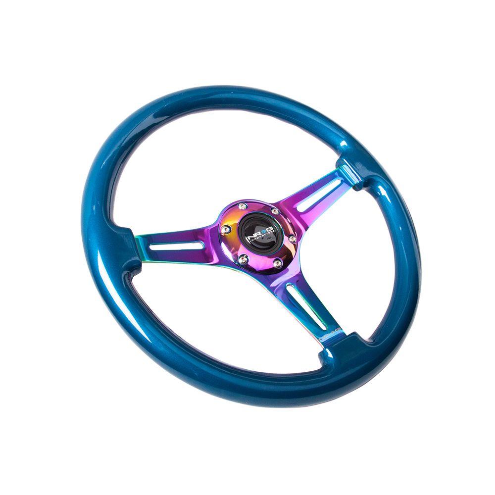 NRG ® - Classic Blue Pearl Wood Grain Steering Wheel with 3 NeoChrome Spokes (ST-015MC-BL)