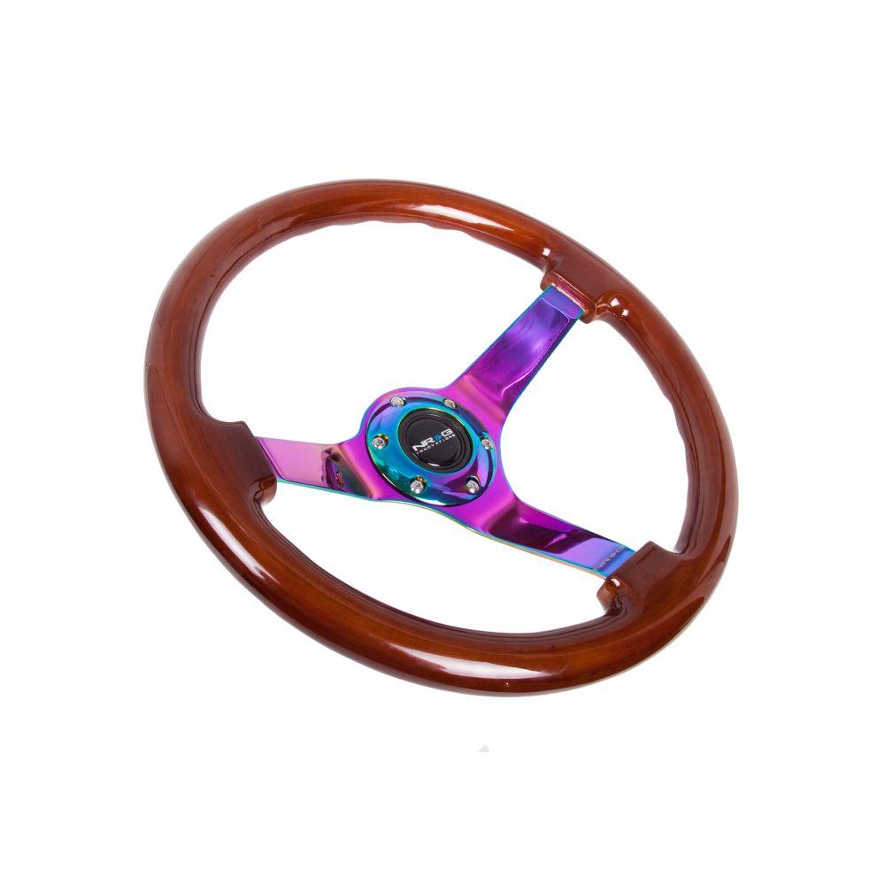 NRG ® - Classic Dark Wood Grain Steering Wheel 3 Inch Deep with 3 NeoChrome Spoke Center (ST-036BR-MC)