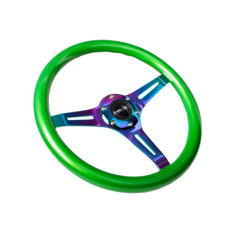 NRG ® - Classic Green Pearl Wood Grain Steering Wheel with 3 NeoChrome Spokes (ST-015MC-GN)