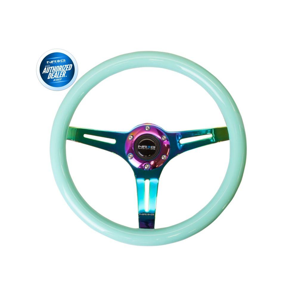 NRG ® - Classic Minty Fresh Wood Grain Steering Wheel with 3 NeoChrome Spokes (ST-015MC-MF)
