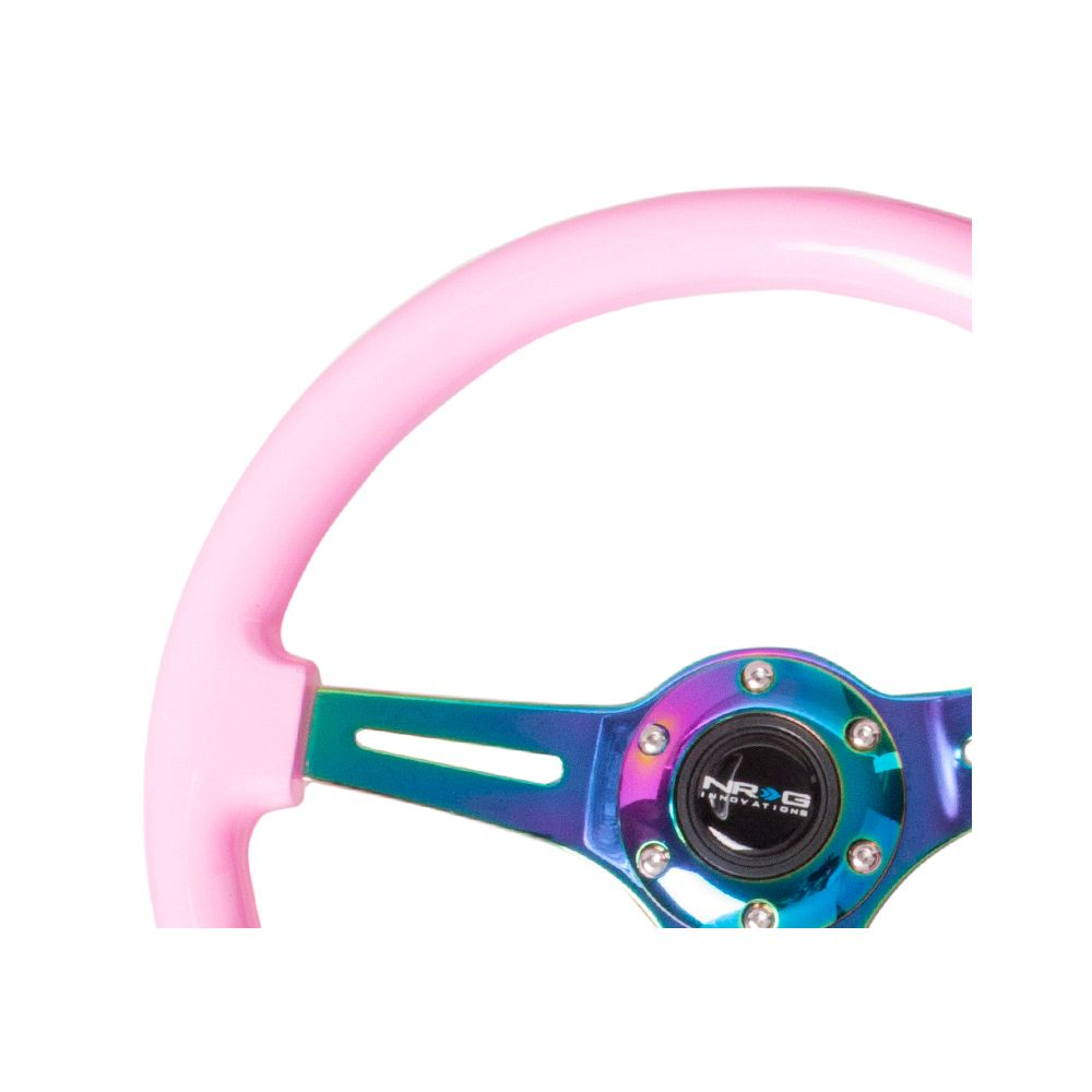 NRG ® - Classic Pink Wood Grain Steering Wheel with 3 NeoChrome Spokes (ST-015MC-PK)