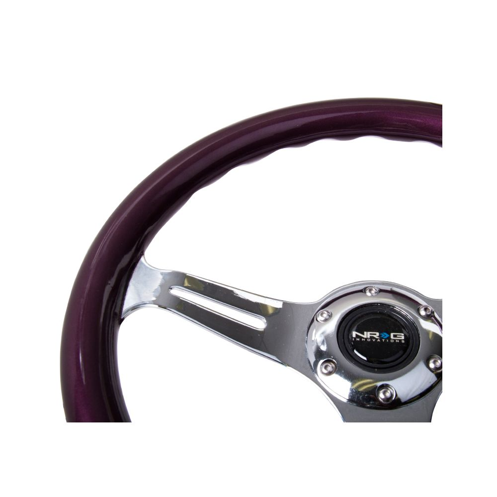 NRG ® - Classic Purple Pearl Wood Grain Steering Wheel with 3 Chrome Spokes (ST-015CH-PP)