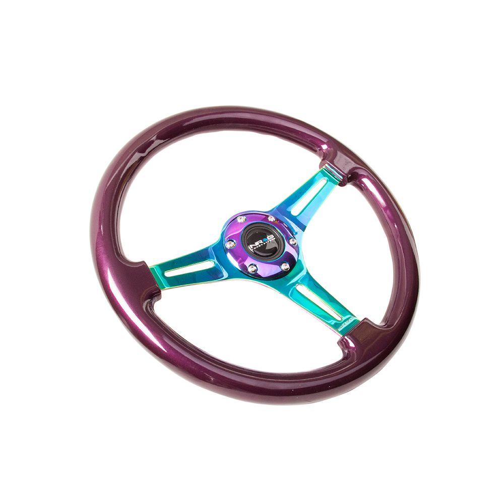 NRG ® - Classic Purple Pearl Wood Grain Steering Wheel with 3 NeoChrome Spokes (ST-015MC-PP)
