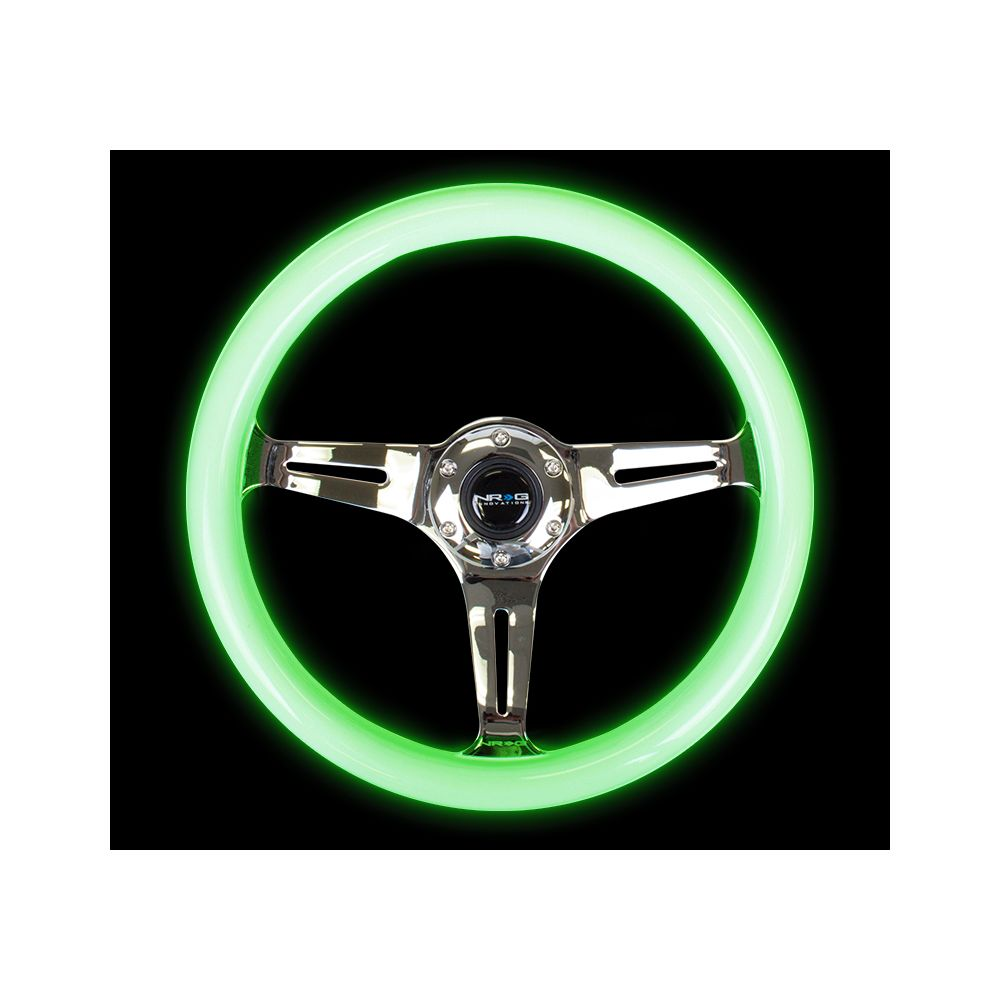 NRG ® - Classic White Wood Grain Steering Wheel Glow in Dark with 3 Brushed Aluminum Spokes (ST-015CH-GL)