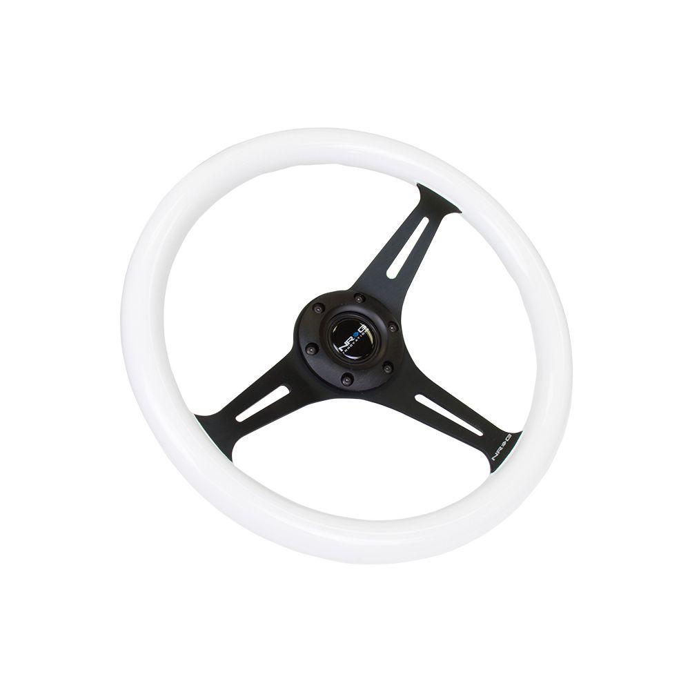 NRG ® - Classic White Wood Grain Steering Wheel with Blue Glow in Dark and 3 Black Spokes (ST-015BK-GLBL)