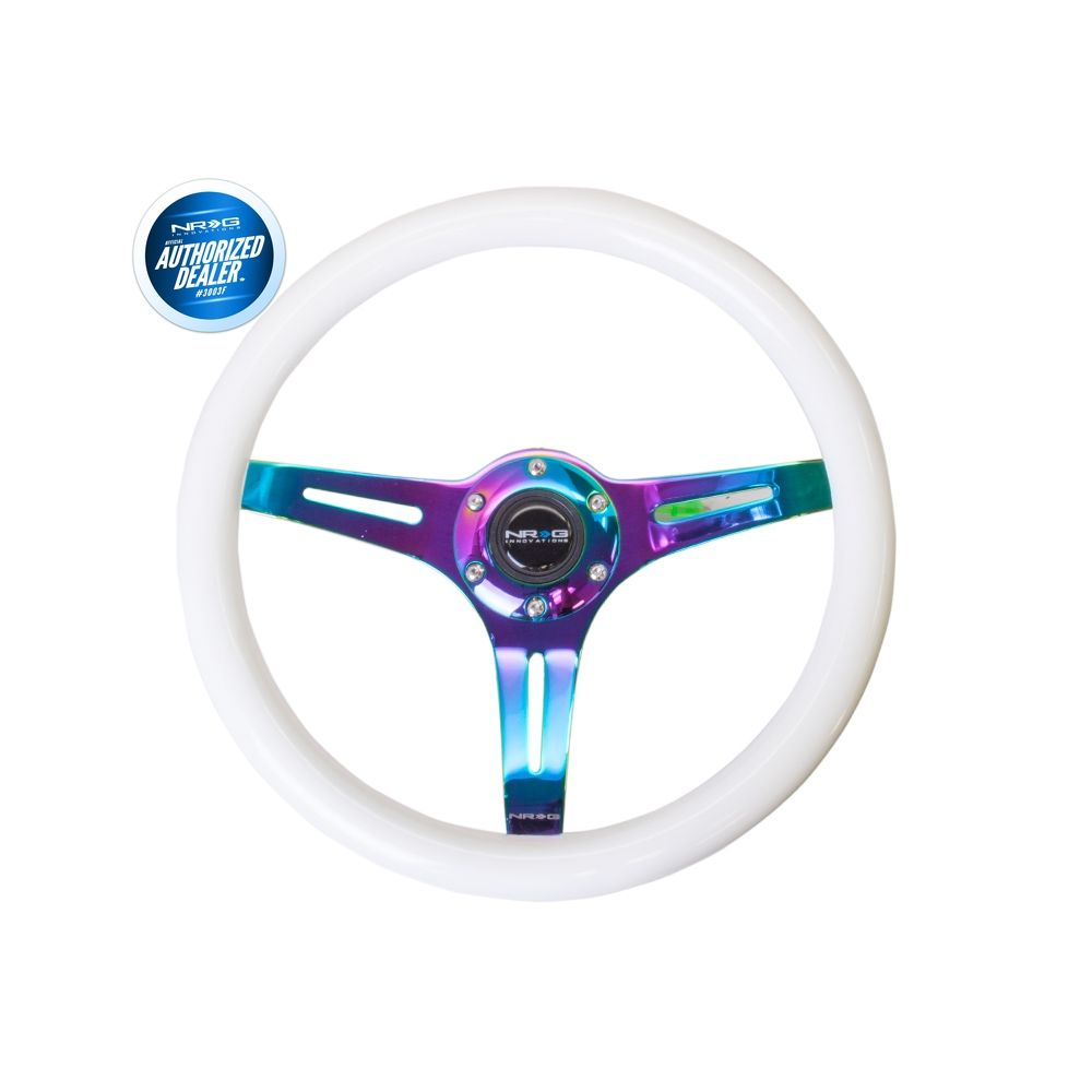 NRG ® - Classic White Wood Grain Steering Wheel with Blue Glow in Dark and 3 NeoChrome Spokes (ST-015MC-GLBL)