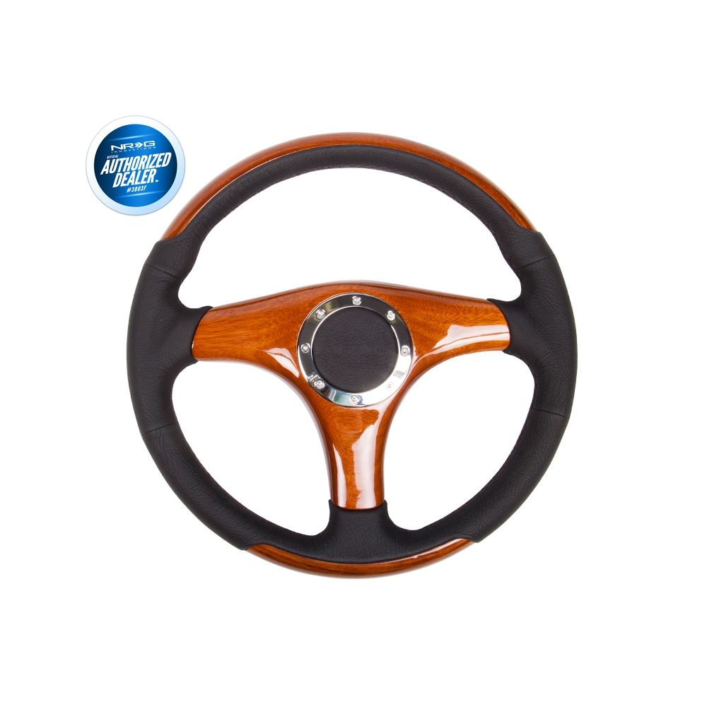 NRG ® - Classic Wood Grain Steering Wheel Black Leather with Wood Accents and 3 Wood Spoke Center (ST-055)