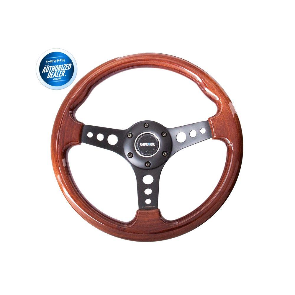 NRG ® - Classic Wood Grain Steering Wheel with 3 Black Spoke Center (ST-035BK)