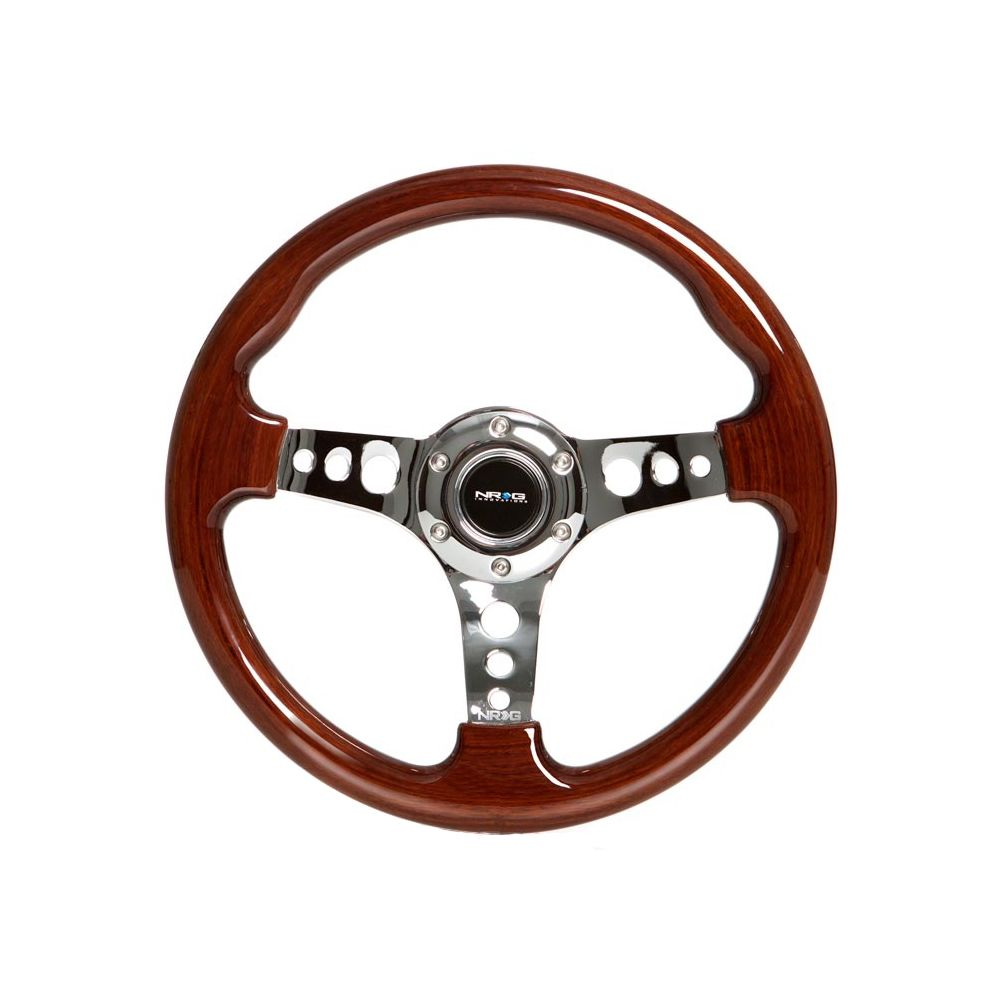 NRG ® - Classic Wood Grain Steering Wheel with 3 Chrome Solid Spoke Center (ST-035CH-W)