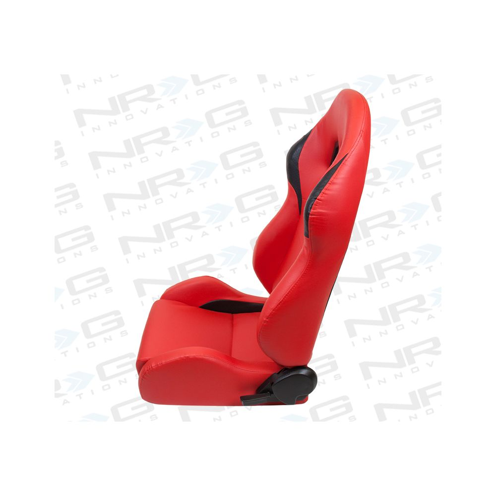 NRG ® - Left Red PVC leather Sport Racing Seat with Black Trim (RSC-202L)