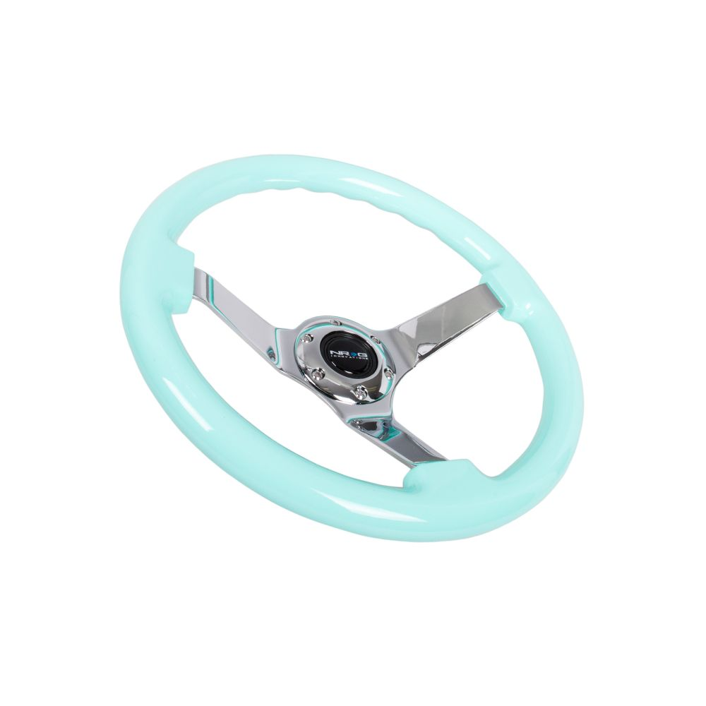 NRG ® - Minty Fresh Wood Grain Steering Wheel 3 Inch Deep with 3 Chrome Spoke Center (ST-036MF-CH)