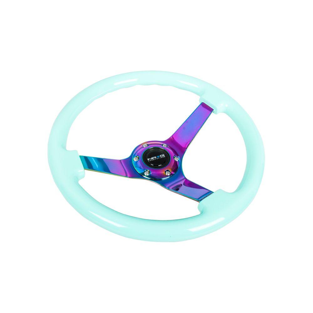 NRG ® - Minty Fresh Wood Grain Steering Wheel 3 Inch Deep with 3 NeoChrome Spoke Center (ST-036MF-MC)