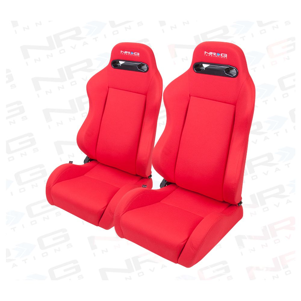 NRG ® - Right and Left Red Cloth Type R Sport Racing Seats with Red Stitch and NRG Logo (RSC-210R/RSC-210L)