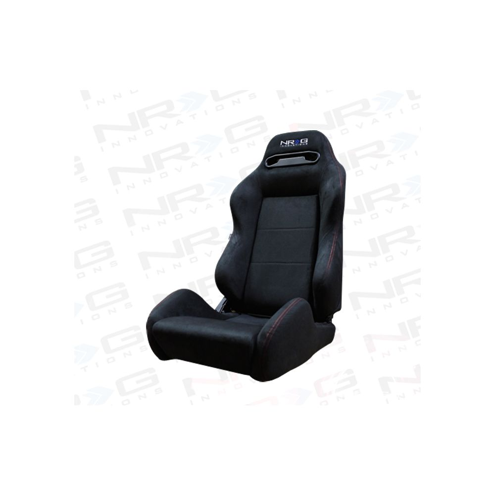 NRG ® - Right and Left Suede Type R Sport Racing Seats with Red Stitch and NRG Logo (RSC-220R/RSC-220L)