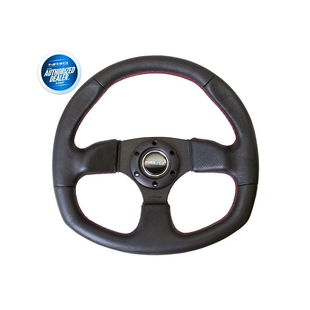 NRG ® - Sport Black Leather Oval Steering Wheel with Flat Bottom (ST-009R)