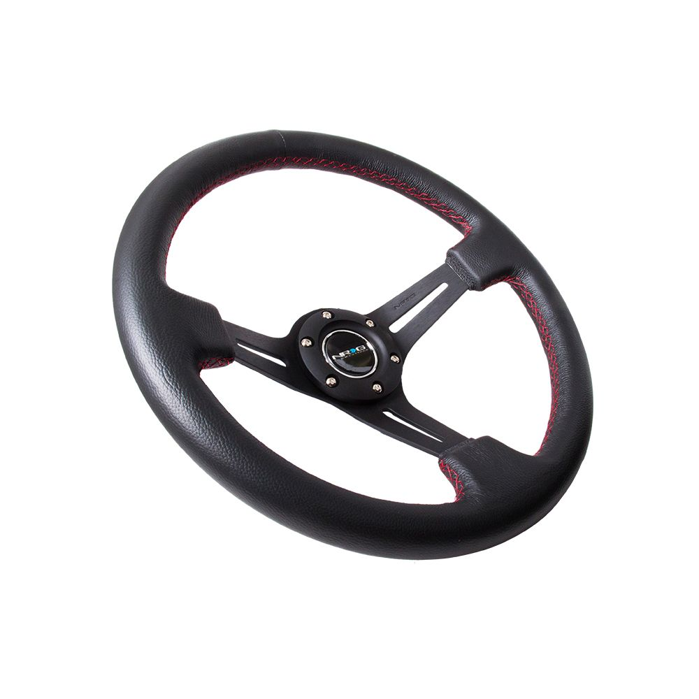 NRG ® - Sport Black Leather Steering Wheel 2 Inch Deep with Red Stitching (ST-018R)