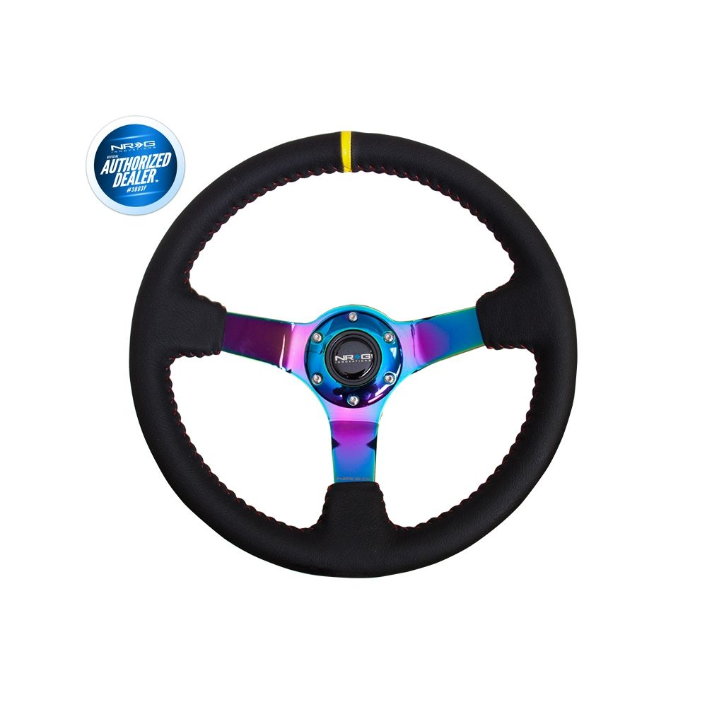 NRG ® - Sport Black Leather Steering Wheel 3 Inch Deep w/ Red Baseball Stitch & NeoChrome Spokes & Yellow Marking (ST-036MC-Y)