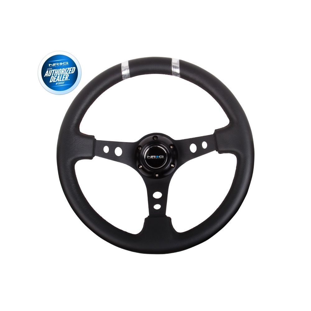 NRG ® - Sport Black Leather Steering Wheel 3 Inch Deep with Black Spokes and Silver Double Markings (ST-016R-SL)