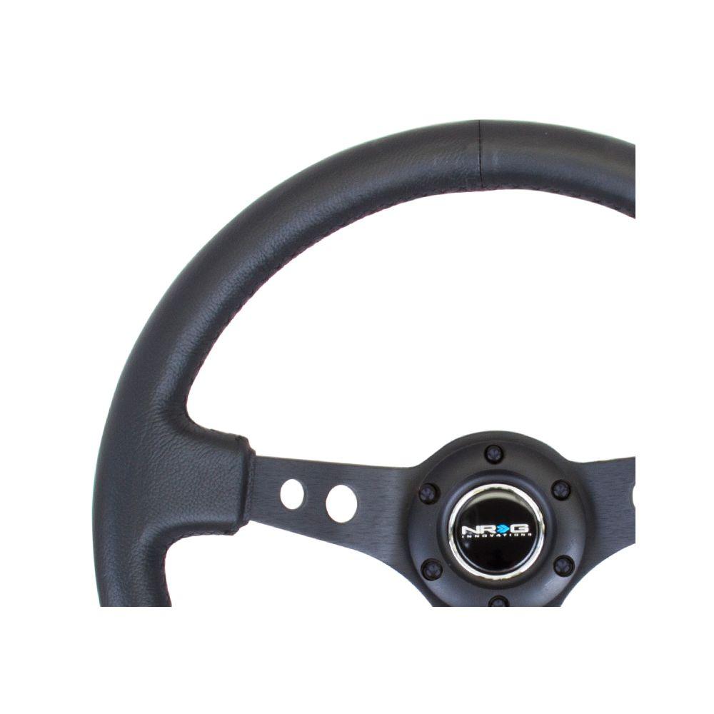 NRG ® - Sport Black Leather Steering Wheel 3 Inch Deep with Black Spokes (ST-006BK)
