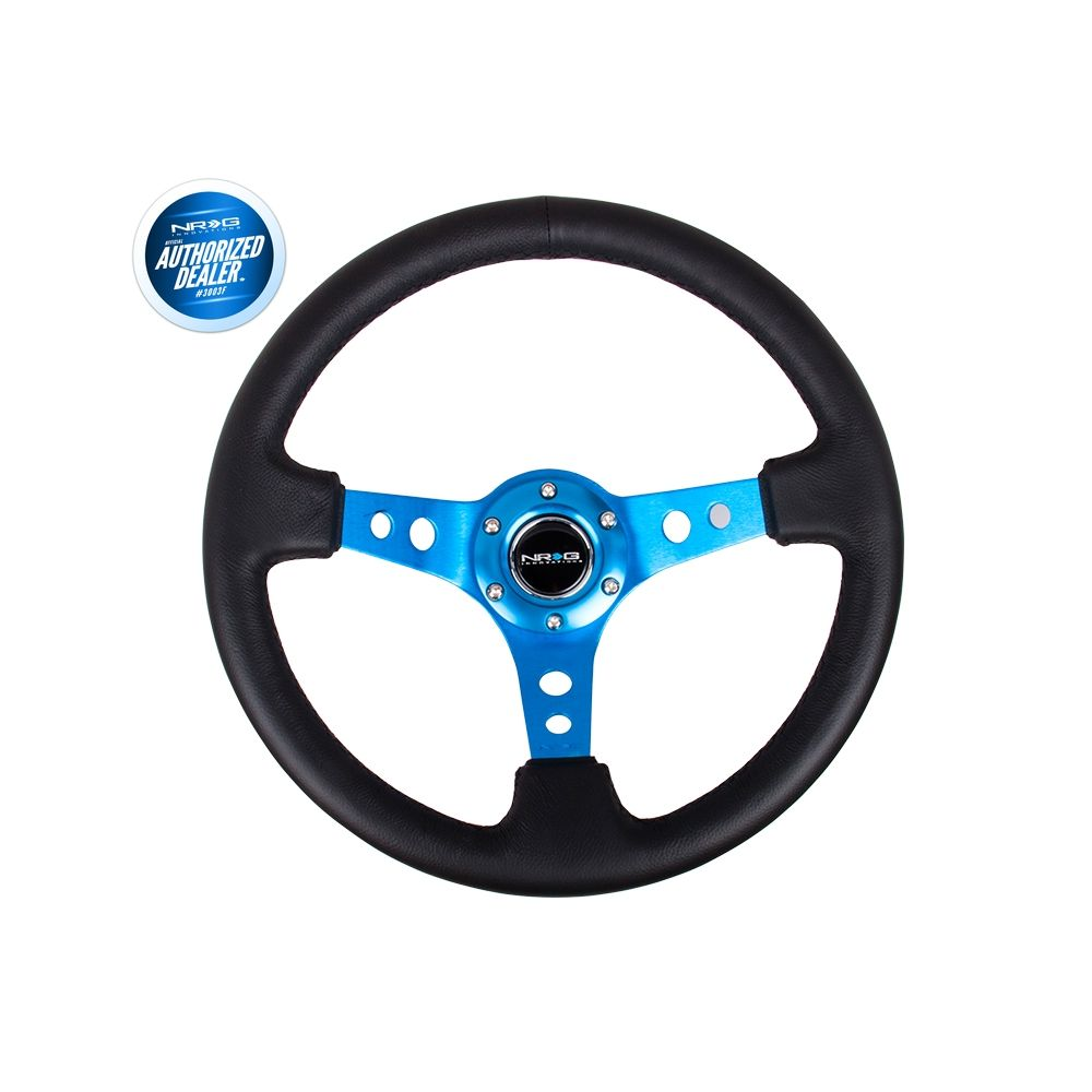 NRG ® - Sport Black Leather Steering Wheel 3 Inch Deep with Blue Spokes (ST-006R-BL)