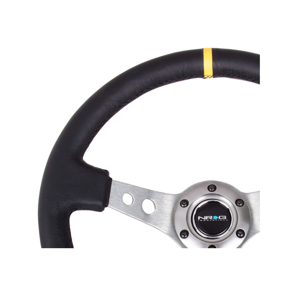 NRG ® - Sport Black Leather Steering Wheel 3 Inch Deep with Gun Metal Spokes and Yellow Marking (ST-006R-GM-Y)
