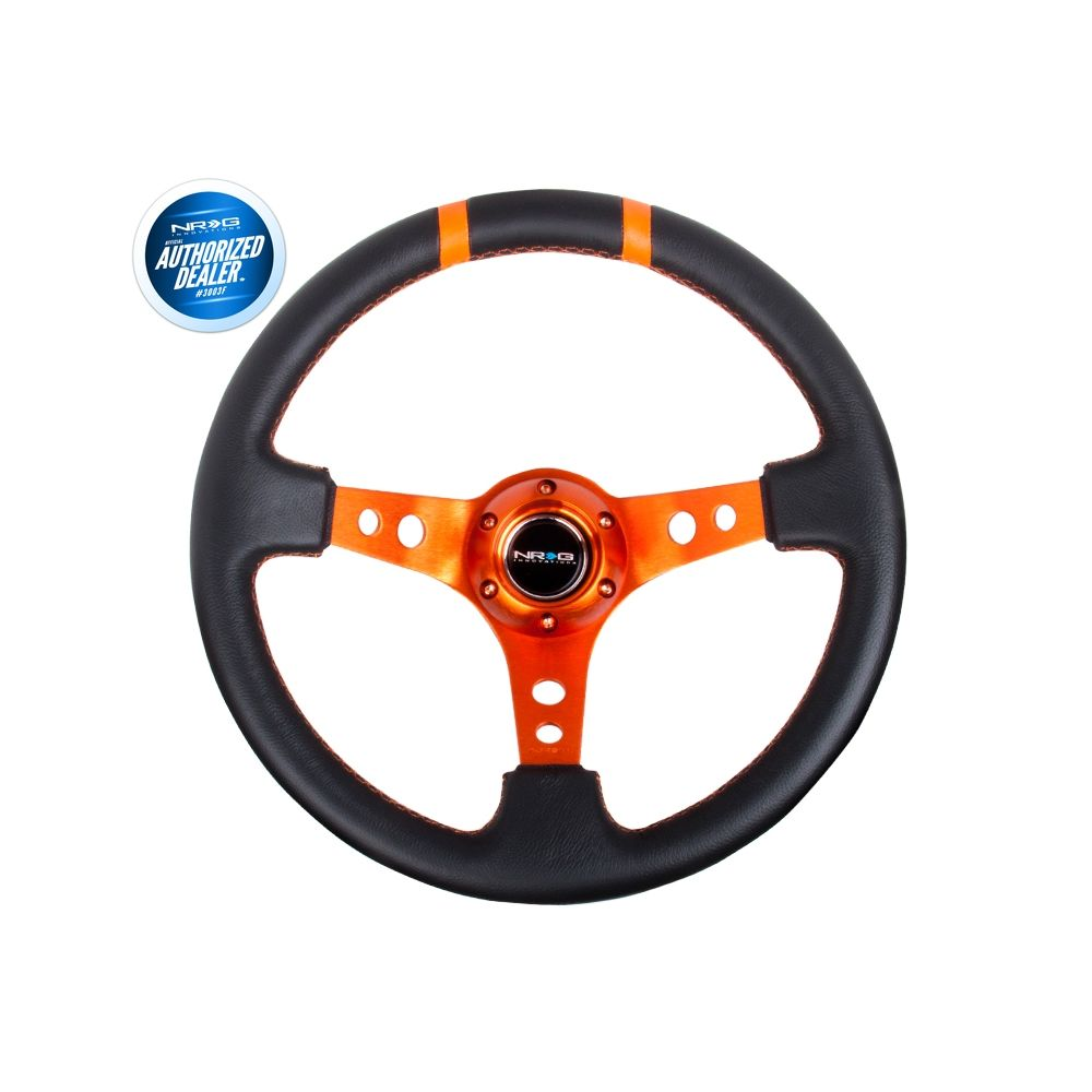 NRG ® - Sport Black Leather Steering Wheel 3 Inch Deep with Orange Spokes and Double Markings (ST-016R-OR)