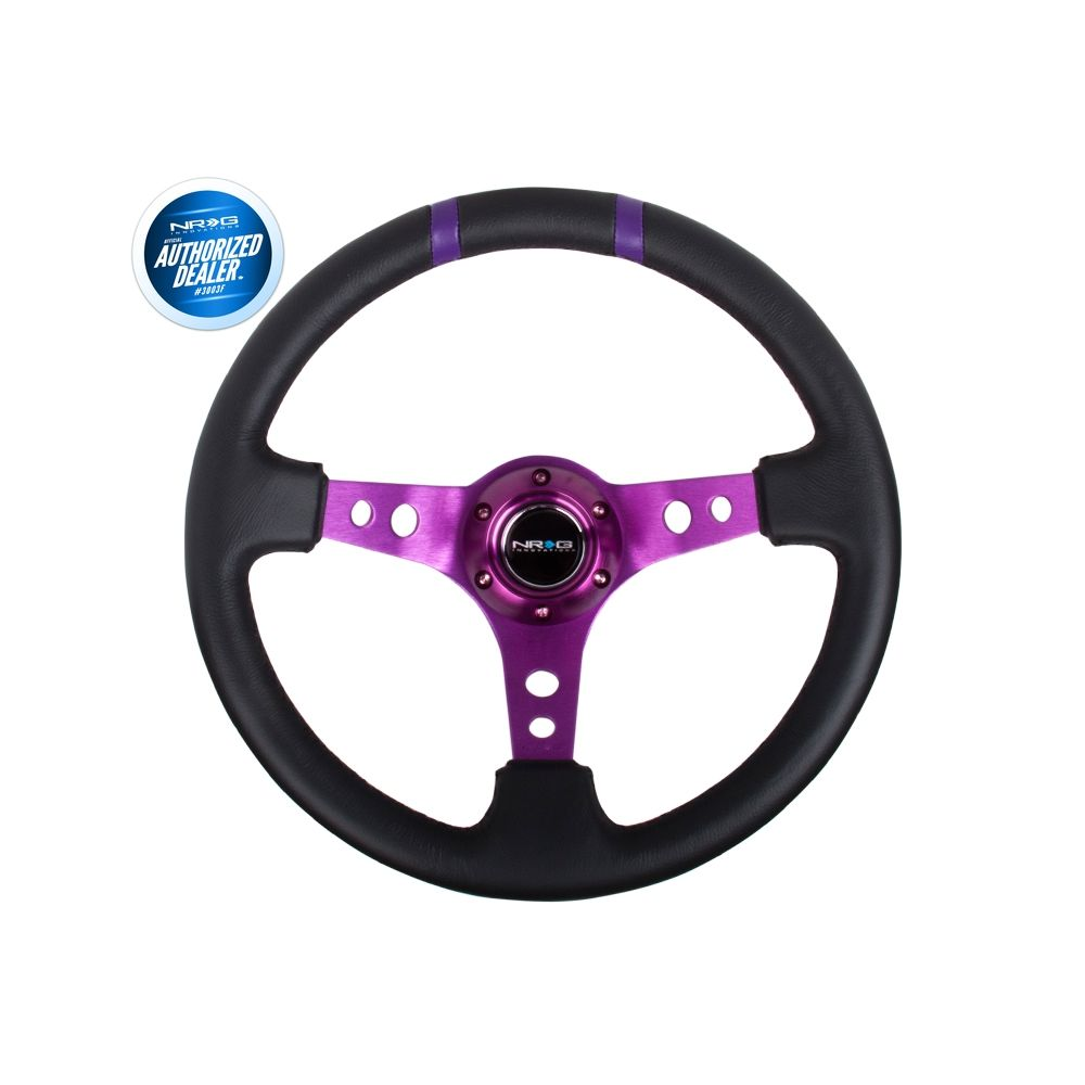 NRG ® - Sport Black Leather Steering Wheel 3 Inch Deep with Purple Spokes and Double Markings (ST-016R-PP)