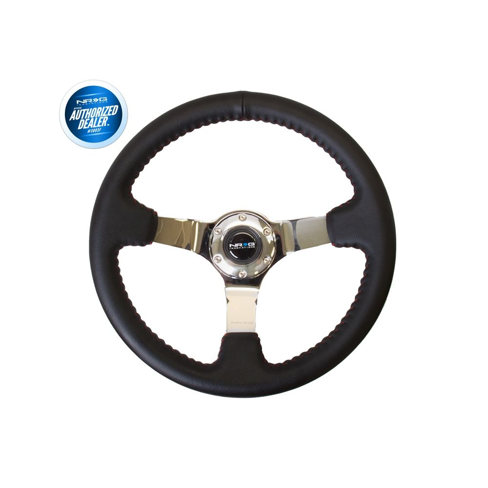 NRG ® - Sport Black Leather Steering Wheel 3 Inch Deep with Red Baseball Stitch and Chrome Spokes (ST-036CH)