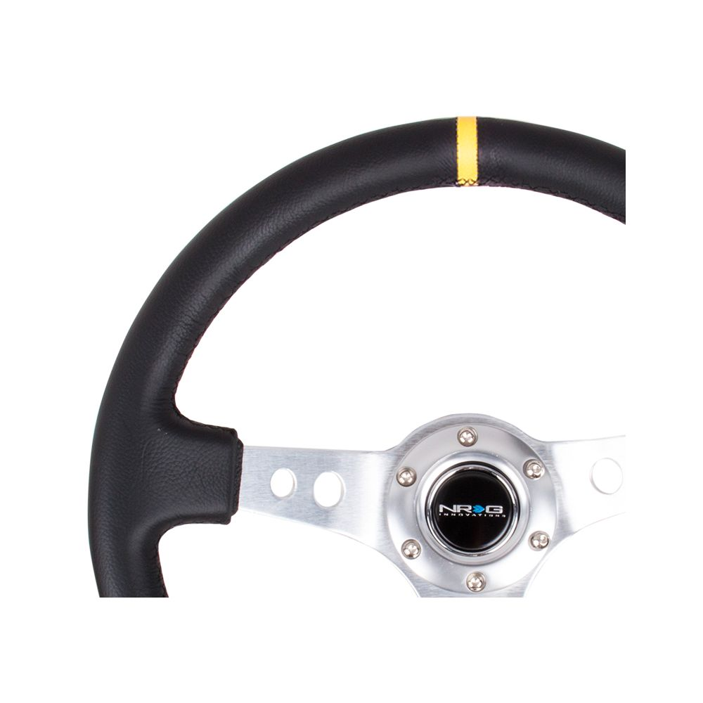 NRG ® - Sport Black Leather Steering Wheel 3 Inch Deep with Silver Spokes and Yellow Marking (ST-006R-SL-Y)