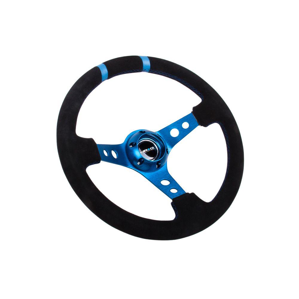 NRG ® - Sport Black Suede Steering Wheel 3 Inch Deep with Blue Spokes and Double Markings (ST-016S-BL)