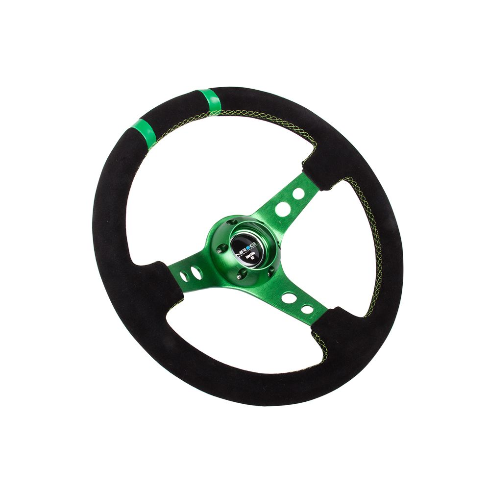 NRG ® - Sport Black Suede Steering Wheel 3 Inch Deep with Green Spokes and Double Markings (ST-016S-GN)