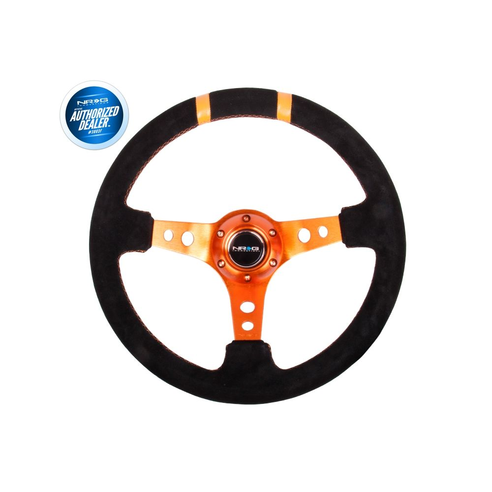 NRG ® - Sport Black Suede Steering Wheel 3 Inch Deep with Orange Spokes and Double Markings (ST-016S-OR)