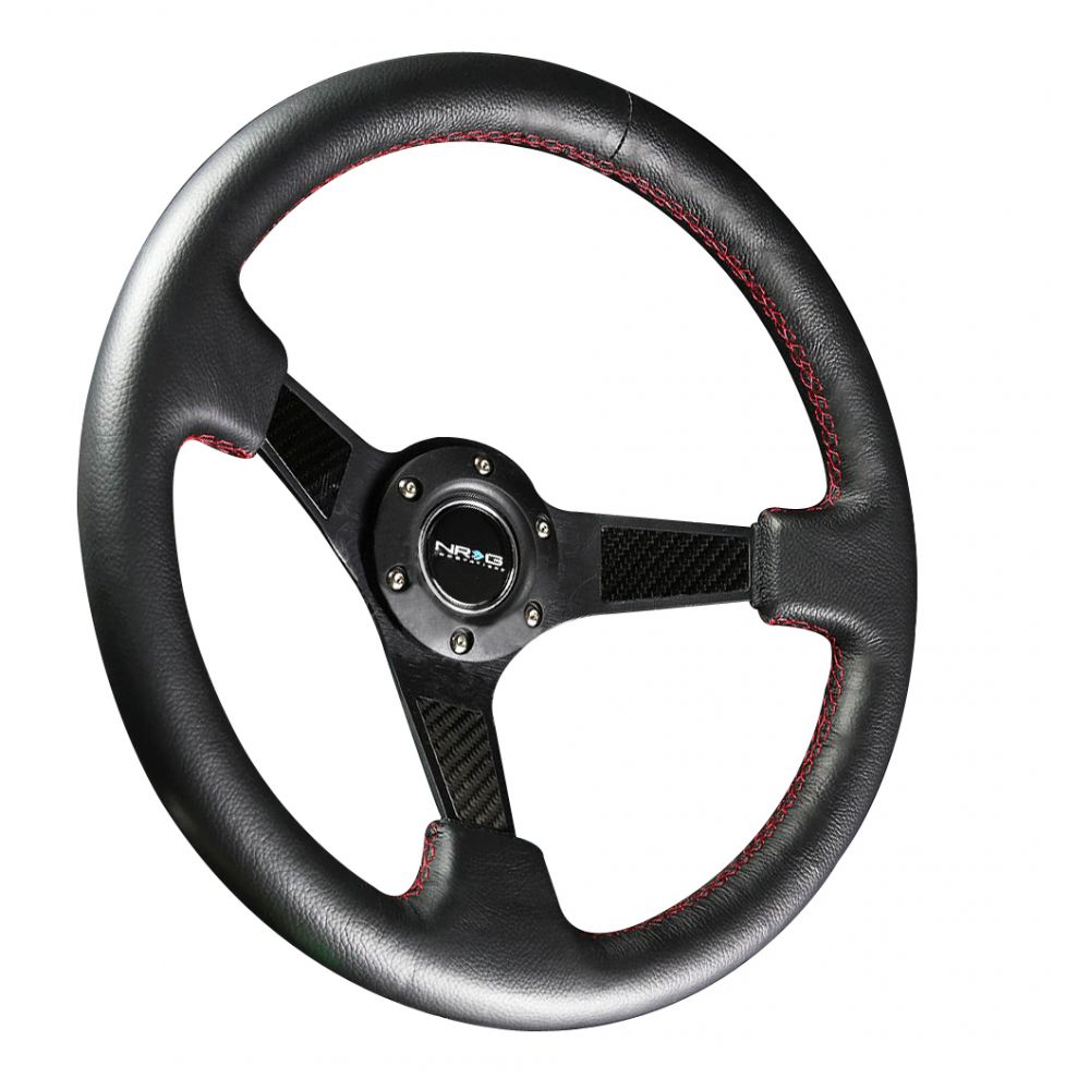 NRG ® - Sport Black Leather Steering Wheel 3 Inch Deep with Carbon Fiber Spokes (ST-006R-CF)
